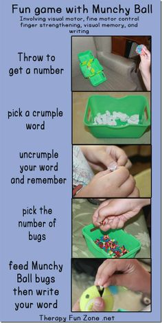 fun game with munchy ball.  work on visual motor, finger strength, and visual memory.  Therapyfunzone.net
