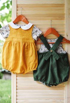 Handmade Linen Baby Rompers | TsiomikKids on Etsy