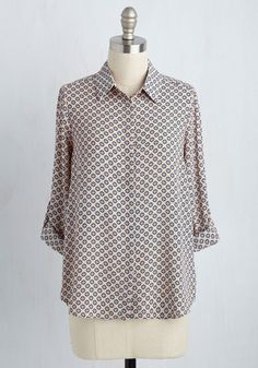 Bet Your Bottom Collar Top in Tiles - Mid-length, Polka Dots, Work, 3/4 Sleeve, Summer, Woven, Better, Collared, Pink, Variation. Vendor: Lumiere