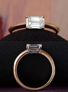 EB 1.05ct East-West Emerald Cut Diamond (GIA: H/VS2) Engagement Ring, 18K & Platinum
