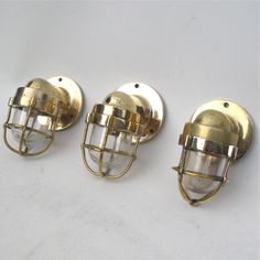 Small Brass Passageway Wall Light Brass Wire Cage