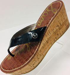 2ffa1385f424f Sam Edelman Womens Black Size 6.5M Romy Thong Sandals 3 Inch Cork Wedge  Heels