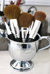 Get creative with the things you find at Goodwill, this vintage sugar bowl made into a makeup brush holder is the perfect example!