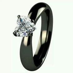 awesome black heart shape ring