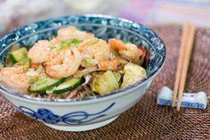 Shrimp and udon noodle stir fry