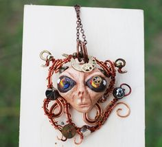 Steampunk Alien Wire Wrap One Of A Kind Punk Artisan Gypsy Necklace by jeanninehandmade on Etsy