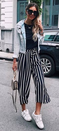 trendy outfit_denim jacket + top + bag + stripped pants + sneakers
