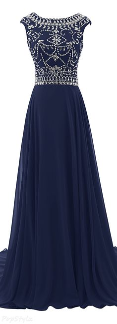 Diyouth 2015 Luxury Beaded Long Formal Gown Navy Blue Prom Dresses, Formal Dresses, Beaded Prom Dress, Fashion Dresses, Beads, O Beads, Dresses For Formal, Navy Prom Dresses, Formal Dress