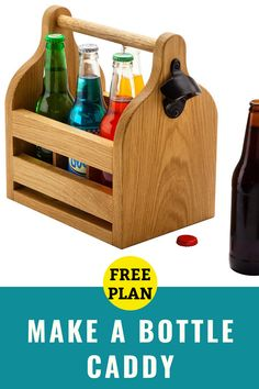A handy and fun-to-make bottle tote for your favorite beverages. Woodworking Ideas To Sell, Beginner Woodworking Projects, Woodworking Furniture, Custom Woodworking, Teds Woodworking, Cupping Massage, Craft Show Ideas, Wood Working For Beginners, Best Gifts