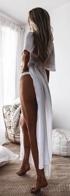 #summer #outfits White Split Maxi Dress