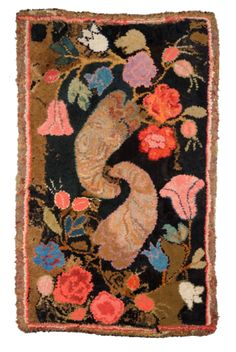 Antique New England Shirred Hooked Rug with Floral Pattern
