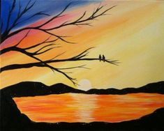 Beautiful Easy Landscape Painting Ideas for Beginners - Sunrise Painti – HomeArtPainting.com Sunset Painting Easy, Night Sky Painting, Sunrise Painting, Lake Painting, Moon Painting, Hand Painting Art, Oil Painting On Canvas, Beautiful Landscape Paintings, Seascape Paintings