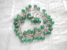 Green Jade Silver Bracelet and Earrings Set from juta ehted - my jewelry shop by DaWanda.com