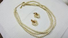 Avon Ivory Style Necklace and pierced earrings Mint Condition Bridal Chic #vintagejewelry #etsyseller