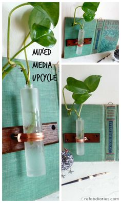 Upcycle: A book-bud vase? Organic art? Whatever it's called, I love how it showcases the beautiful vintage book cover. #upcycle #repurpose #DIY