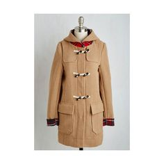 70s Long Long Sleeve For Cold Time's Sake Coat ($63) ❤ liked on Polyvore featuring outerwear, coats, anorak coat, apparel, tan, tan toggle coat, tartan coat, long hooded coat, plaid coat and hooded coats