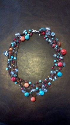 Crochet beaded necklace I made - coral and turquoise.