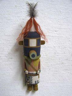 Old Style Hopi Carved Rattle (Aya) Traditional Racer Katsina Doll by Tayron Polequaptewa