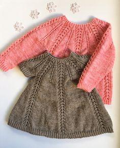 Seraphina Sweater og Kjole strikkes ovenfra og ned med rundt bærestykke. Bærestykket dannes ved, at der tages ud i et bestemt mønster, som er beskrevet i opskri