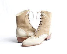 1920's vintage inspired lace up boots  FREE by goodbyefolk on Etsy, $260.00
