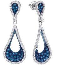 1 CTW-Diamond MICRO-PAVE BLUE EARRING