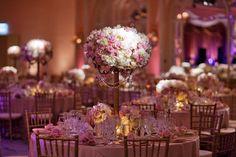 Centerpieces on Candelabra gold peach blush wedding