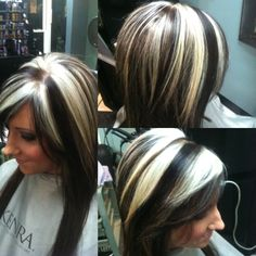 All over color with chunky blonde hilights by me :)