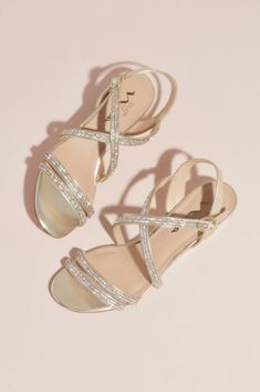 Crystal Crisscross Strap Low Wedge Sandals Style FALICIA, Champagne, With rows of crystal sparkle, these strappy wedge sandals are as comfortable as they are elegant. By Touch of Nina Synthetic 2 heel Adjustable buckle Imported Low Wedge Sandals, Low Wedges, Strappy Wedges, T Strap Sandals, Wedge Shoes, Bridesmaid Sandals, Bridal Sandals, Bridesmaids, Bridesmaid Dresses