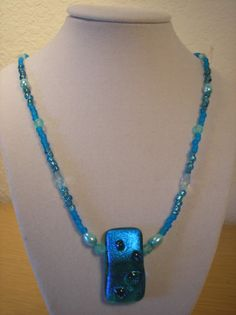 Ocean Blues/ glass pendant with beaded by CreationsbyMaryEllen, $12.50