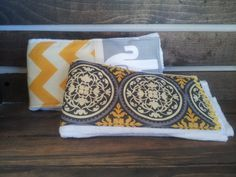 Hey, I found this really awesome Etsy listing at https://www.etsy.com/listing/227081238/burp-cloths-yellow-gray-with-elephants