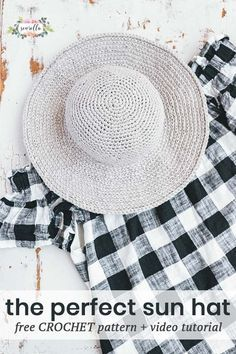 Crochet Tutorial Crochet this easy beginner friendly June Sun Hat with my free pattern and video tutorial! Crochet Summer Hats, Bag Crochet, Crochet Beanie, Crochet Clothes, Free Crochet, Crochet Sun Hats, Diy Clothes, Easy Crochet Projects, Crochet Patterns For Beginners