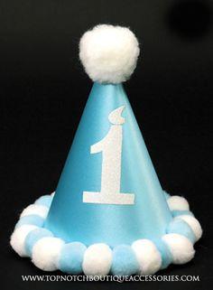 Boys 1st Birthday Hat Blue White Embellished Pom Poms Satin Baby Party Accessory #PartyHatsLLC