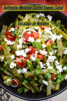 This is an authentic Mexican cactus leaves salad or ensalada de nopales, as it is called in Spanish. Nopales are a staple in the Mexican cuisine and wildly used in salsas, salads or stews. Mexican Salad Recipes, Mexican Salads, Mexican Appetizers, Mexican Dishes, Mexican Desserts, Ceviche Mexican, Nopal Salad Recipe, Nopales Salad, How To Cook Nopales
