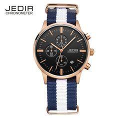 2018 JEDIR Canvas Military Watch Relogio Masculino Men Genuine fashion Strap Men Watches Chronograph 6 Hands Auto Function Watch