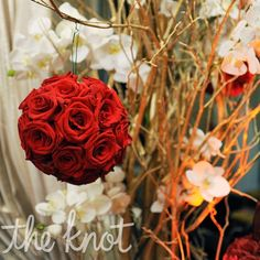 beautiful red rose pom for ceremony decorations