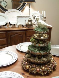 Partridge in a Pear Tree-stack plates, serving dishes to create centerpiece