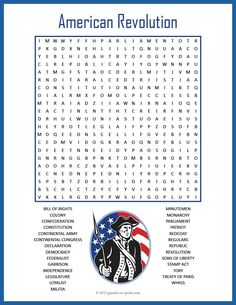 American Revolution Word Search Puzzle:  Review history and important vocabulary words with a fun-to-do word search. Puzzlers will need to look in all directions to find the 27 hidden words, all having to do with the American Revolution. This would be good as a handout for early finishers or as a way to introduce the topic to the whole class.