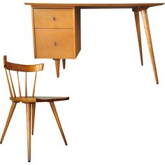 PAUL MCCOBB Planner Group Birch Desk and Side Chair found at www.rubylane.com @rubylanecom