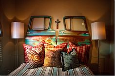 How pretty is this? Vintage truck doors as a headboard.