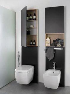 WC design avec panneaux de rangements