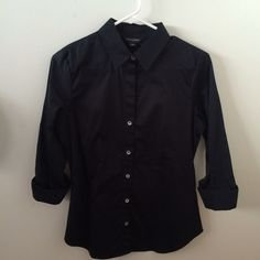 Banana Republic Black 3/4-sleeve Collared Shirt This is a classy, black, 3/4 length sleeve collared shirt from Banana Republic. Worn once. Sleeves are cuffed and have some ruching. Banana Republic Tops Button Down Shirts
