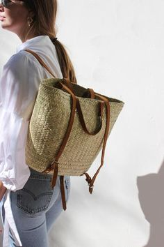 woven palm backpack