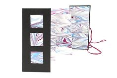 Triple Accordion book with marbled paper