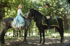 Cinderella and Prince Charming meet casually on horseback.
