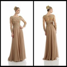 Hot MOTHER OF THE BRIDE Gold Evening Dresses With Scoop Neck Sheer Long Sleeves Appliques Plus Size Formal Dress Party Wear Custom Made