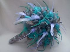 PRETTY PARADISE Feather and Organza Wedding Bouquet by Ardesign, $165.00