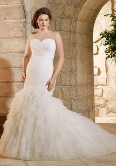 76220b9b676 Asymmetrically Draped and Ruffled Soft Net Morilee Bridal Plus Size Wedding  Dress