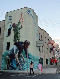 Fintan McGee Street Art 'The Fisherman' Limerick City Ireland @GoogleStreetArt