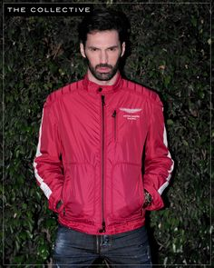 The fire-engine red Hackett Aston Martin Racing Jacket, now at The Collective.