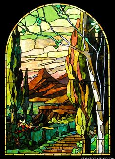 """Tiffany Mountain"" Stained Glass Window"